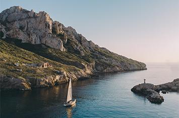 Sailboat near an island